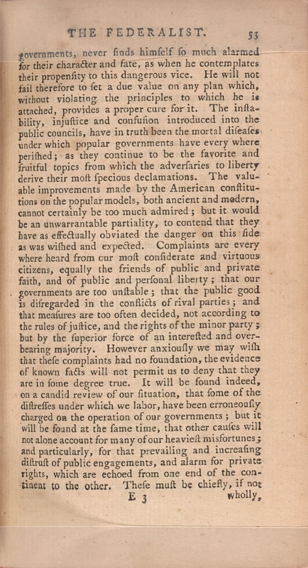 summary of federalist papers Federalist no 51 (1788) in this federalist paper, james madison explains and defends the checks and balances system in the constitution each branch of government is framed so that its.