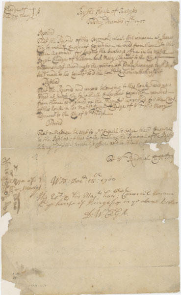 Resolution Of The House Of Burgesses, 17 December 1700, And Concurrence Of  The Governoru0027s