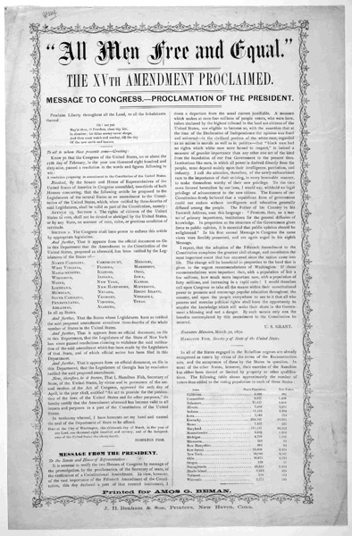 an analysis of the fifteenth amendment of the us constitution The 15th amendment to the constitution granted african american men the right to vote by declaring that the right of citizens of the united states to vote shall not be denied or abridged by the united states or by any state on account of race, color, or previous condition of servitude although.
