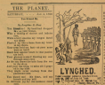 Lynched, Notice in Newspaper, <em>The Richmond Planet,</em> 4 January 1890, Original Newspaper, Library of Virginia, Richmond, Virginia., LVA