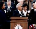 Photograph of Governor Douglas Wilder Taking the Oath of Office, 13 January 1990, Prints and Photographs, Special Collections, Library of Virginia, Richmond, Virginia., LVA