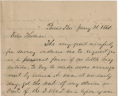 William Staples to Christoper Yancy Thomas, January 11, 1861, Gravely Family Papers, Acc. 34126, Library of Virginia,