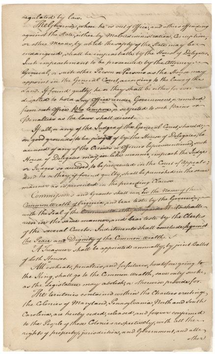 Education from LVA: First Virginia Constitution