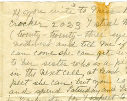 Pauline Forstall Colclough Adams Wrote to Her Son from Prison, October 23, 1917