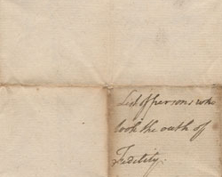 Oath of Allegiance Sworn in Bedford County, August–November 1777
