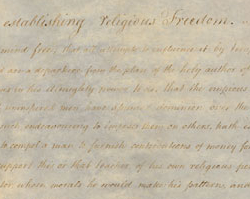 Act for Establishing Religious Freedom, January 16, 1786