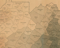 Virginia Slave Population Map, 1860