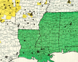 School Desegregation Map, May 1958