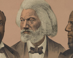 Lithograph Showing Blanche Kelso Bruce, Frederick Douglass, and Hiram Rhodes Revels, 1881