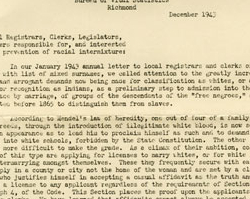 Walter Plecker Asserted that Virginia Indians No Longer Exist, December 1943