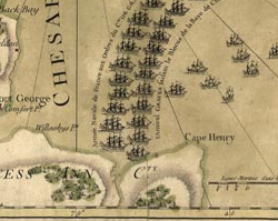 A French Map Depicting American, French, and British Forces In and Around Yorktown before the Battle of Yorktown, 1781