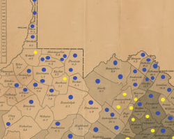 Map of April 4, 1861, Vote on Secession