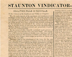 Coalition Rule in Danville—the Danville Circular, October 1883