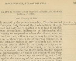 Virginia Vagrancy Law, January 15, 1866