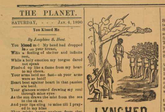 Lynched, Notice in Newspaper, The <em>Planet</em>, 4 January 1890, Original Newspaper, Library of Virginia, Richmond, Virginia.