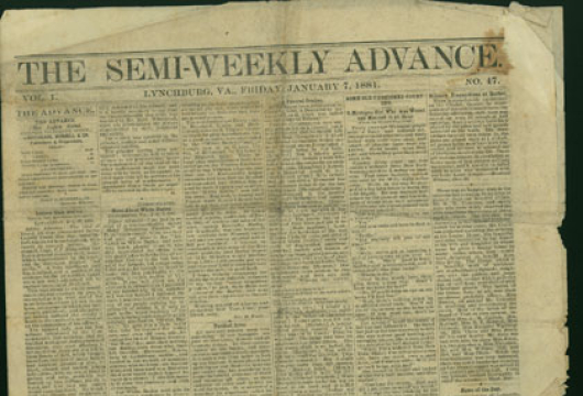 <em>Lynchburg Semi-Weekly Advance</em>, 7 January 1881, Original Newspaper, Library of Virginia, Richmond, Virginia.