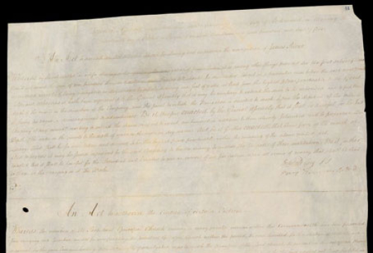 Thomas Jefferson (1743–1826), An Act for Establishing Religious Freedom, 16 January 1786, Manuscript, Records of the General Assembly, Enrolled Bills, Record Group 78, Library of Virginia, Richmond, Virginia.
