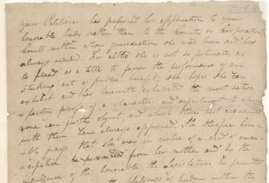 Judith Hope (fl. 1818–1828), Petition to the Virginia House of Delegates, ca. 1819, Manuscript, Records of the General Assembly, Legislative Petitions, City of Richmond, Record Group 78, Library of Virginia, Richmond, Virginia.