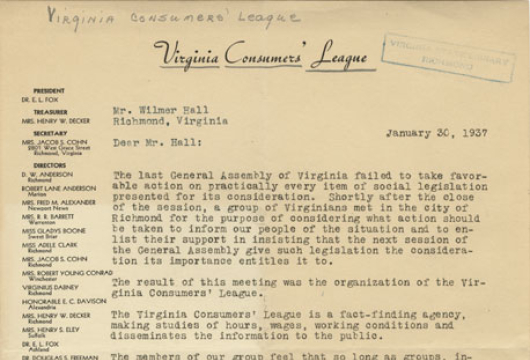 Virginia Consumers' League, Letter, 30 January 1937, Accession 40056, Organization Records Collection, Library of Virginia, Richmond, Virginia.