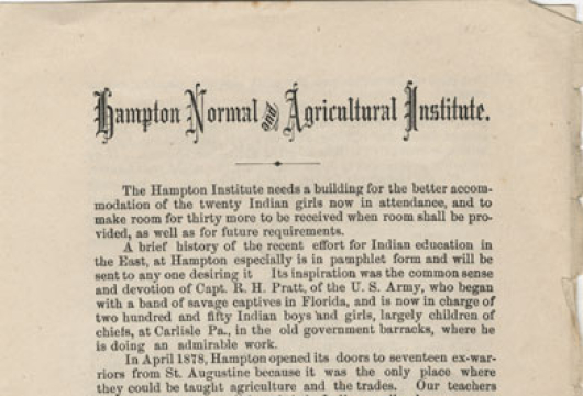 Hampton Normal and Agricultural Institute (Hampton, Va., 1881), LC2851.H32 A4 1881, Library of Virginia, Richmond, Virginia.