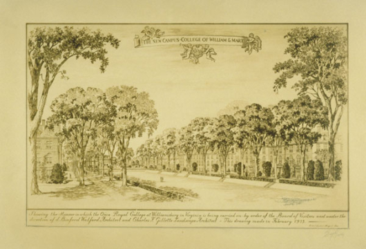 The New Campus, College of William & Mary [picture], 1935, Charles F. Gillette Virginia Photograph Collection, Charles F. Gillette Papers, Personal Papers Collection, Library of Virginia, Richmond, Virginia.