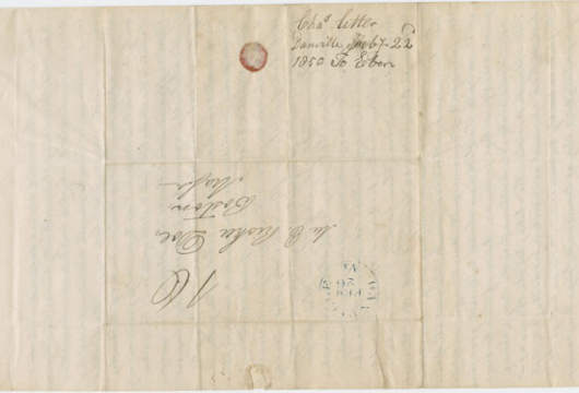 Doe, Charles, Letter, 22 February 1850, Accession 38743, Personal Papers Collection, Library of Virginia, Richmond, Virginia.