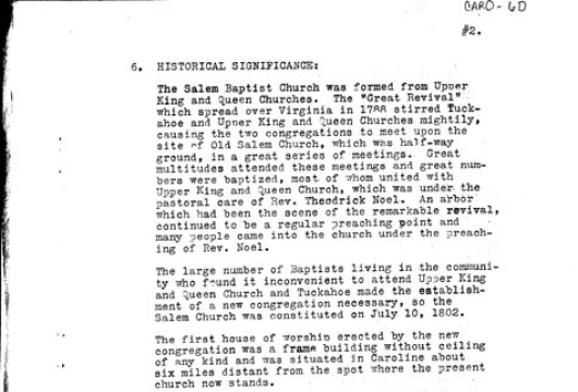Survey Report, Salem Baptist Church: 9 March 1937, Research Made by Selma Farmer, Computer file: 2000, Library of Virginia, Richmond, Virginia.