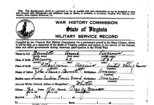 Bennett, Anne Virginia, Virginia War History Commission, Individual Service Records (Questionnaires), 1919–1924 (bulk 1919–1921), Accession 37219, State Government Records Collection, Library of Virginia, Richmond, Virginia.
