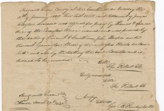 James Clayton, Will, 7 February 1818, Accession 20628, Personal Papers Collection, Library of Virginia, Richmond, Virginia.