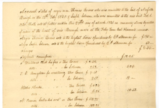 Account of Sale of Negro Man Thomas Evans, 1831, Runaway and Escaped Slaves, 1806—1863, Receipts and Reports, Auditor of Public Accounts (APA 759), State Government Records Collection, Library of Virginia, Richmond, Virginia