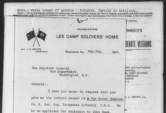 Van Buren Hawkins, Robert E. Lee Camp Confederate Soldiers� Home (Richmond, Virginia), Applications for Admission, 1884—1941, Accession 24736, State Government Records Collection, Library of Virginia, Richmond, Virginia.