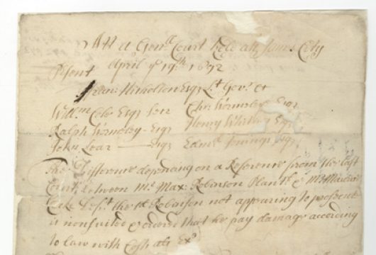 Virginia (Colony), Colonial Papers, Proceedings, 1692 December 23, Accession 36138, State Government Records Collection, Library of Virginia, Richmond, Virginia.
