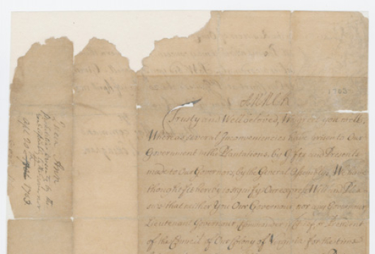 Virginia (Colony), Colonial Papers, Order of Daniel Finch, 1703 April 20, Accession 36138, State Government Records Collection, Library of Virginia, Richmond, Virginia.