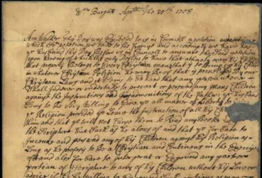 Directive to Ann Walker, 25 April 1708, Manuscript, Record Group 1, Colonial Papers, Library of Virginia, Richmond, Virginia.