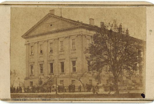 Carte de Visite &34;State Capitol, Richmond&34; (Scene of Late Calamity), DETAIL, Selden & Co., 1870, Picture Collection, Library of Virginia, Richmond, Virginia.