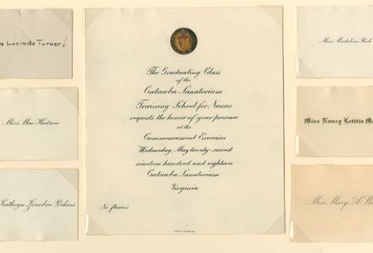 Invitation to Graduation, Catawba Sanatorium Training School for Nurses, 1918, Printed form, Virginia, Governor (1918—1922: Davis), Executive Papers, 1918—1922, Accession 21567a, State Government Records Collection, Record Group 3, Library of Virginia, Richmond, Virginia.