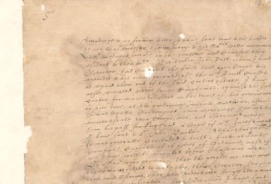 Virginia (Colony), Colonial Papers, Letter of Governor John Harvey, 31 May 1630, Box 141, Folder 1, Accession 36138, State Government Records Collection, Library of Virginia, Richmond, Virginia.