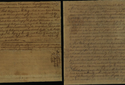George Mason, Declaration of Rights, 1776, Accession 21512, Personal Papers Collection, Library of Virginia, Richmond, Virginia.