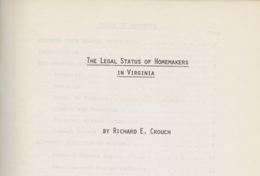 Richard E. Crouch, <em>The Legal Status of Homemakers in Virginia</em>, Washington: National Commission on the Observance of International Women's Year, Homemakers Committee: United States Government Printing Office, 1977, Y 3. W 84: 9/47, Library of Virginia, Richmond, Virginia.