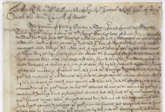 Virginia (Colony), Colonial Papers, Petition, 1675 June 16, Accession 36138, State Government Records Collection, Library of Virginia, Richmond, Virginia.