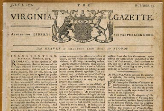 Virginia Gazette, 5 July 1776, Original Newspaper, Library of Virginia, Richmond, Virginia.