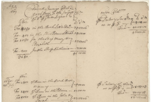 Virginia (Colony), Colonial Papers, Account, 1691 April 20, Accession 36138, State Government Records Collection, Library of Virginia, Richmond, Virginia.