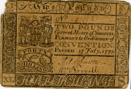 Two Pound Forty Shillings, Currency Collection C1:113–Colonial, Prints and Photographs, Special Collections, Library of Virginia, Richmond, Virginia.