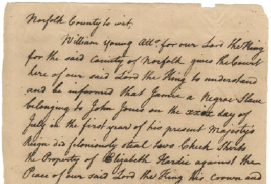 William Young, Charge, 29 July 1760, Accession 39706, Personal Papers Collection, Library of Virginia, Richmond, Virginia.