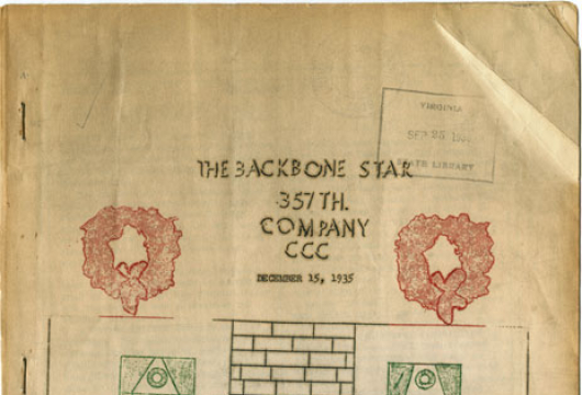 <em>The Backbone Star</em>, Co. 357 CCC, Damascus, Virginia, 15 December 1935, Original Newspaper, Library of Virginia, Richmond, Virginia