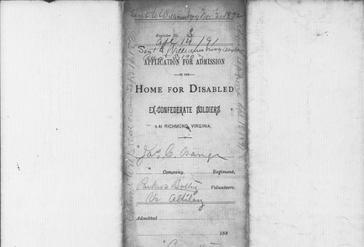James C. Orange, Robert E. Lee Camp Confederate Soldiers' Home (Richmond, Virginia), Applications for Admission, 1884–1941, Accession 24736, State Government Records Collection, Library of Virginia, Richmond, Virginia.