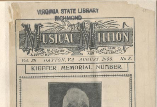 The <em>Musical Million</em>, August 1908, ML1 M9 V. 39 No. 8, Library of Virginia, Richmond, Virginia.
