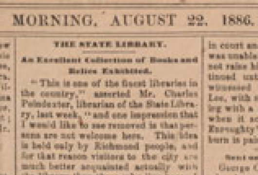<em>Richmond Dispatch</em>, 22 August 1886, Original Newspaper, Library of Virginia, Richmond, Virginia.