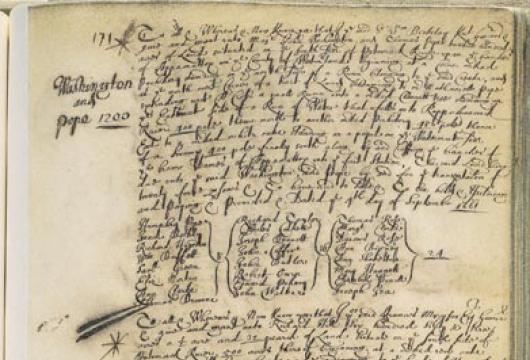 Land Patent with a List of Headrights, 1661 and 1661, Bound Manuscript, Land Office Records, Patent Book 5, p. 171, Record Group 4, Library of Virginia, Richmond, Virginia