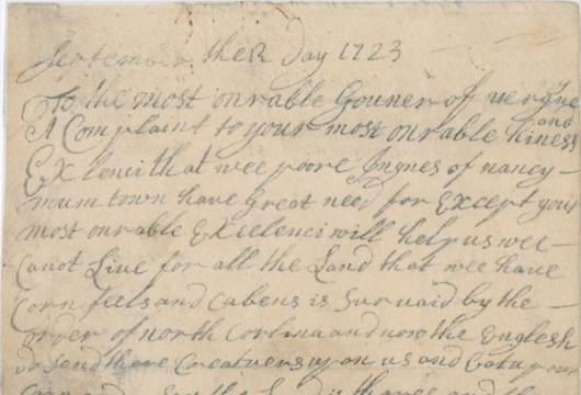 Virginia (Colony), Colonial Papers, Petition of Meherrin, 12 or 13 September 1723, Accession 36138, State Government Records Collection, Library of Virginia, Richmond, Virginia.